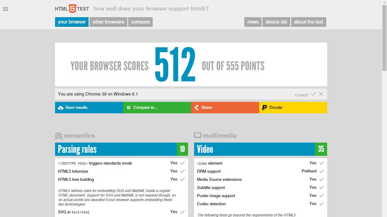 Como saber si tu navegador soporta HTML5 con HTML5test