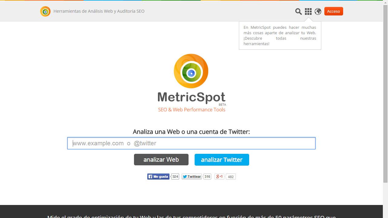 Como analizar y optimizar tu web con Metricspot