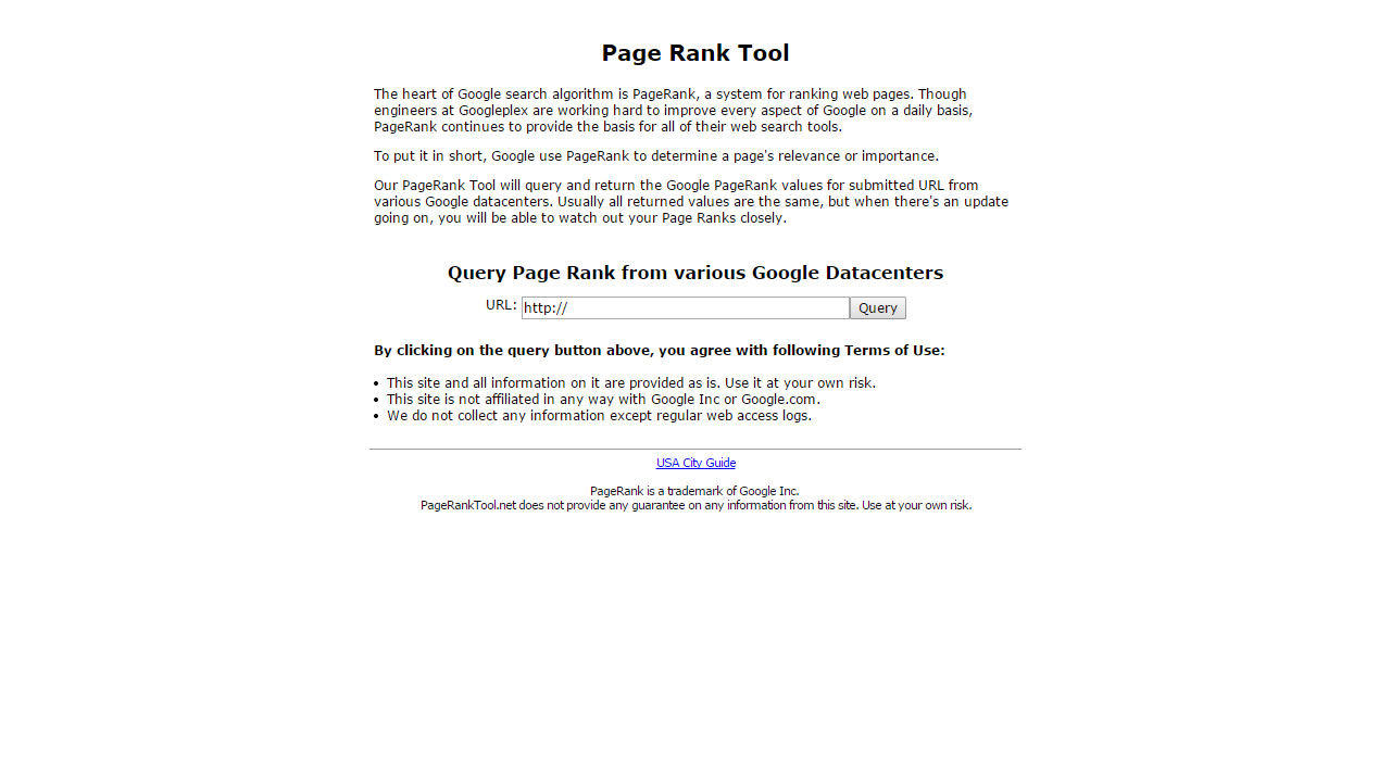 Page Rank Tool