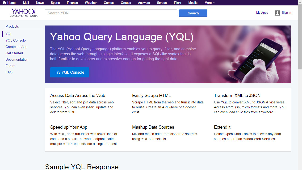 Yahoo YQL