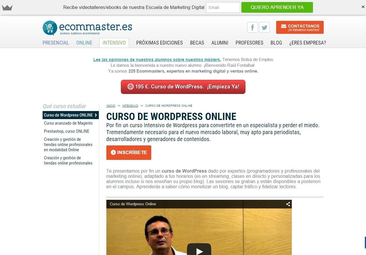 Curso de WordPress ONLINE   Intensivo   Máster y cursos Ecommerce